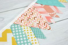 Bunting Fabric Banner, Flags, Photo Prop, Baby Girl Nursery Decor - Mint Green, Peach, Yellow, Chevron, Dots, Geometric - Ready to Ship
