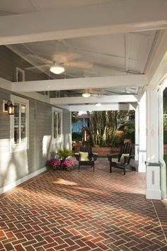 Perfect exterior paint, trim and brick paver color on this lovely covered porch. Pathway Full Range Modular clay pavers.
