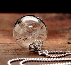 925 Silber echte Pusteblumen Halskette k108 von VIVIANNA SCHMUCK auf DaWanda.com
