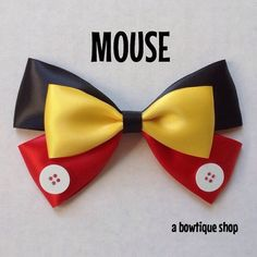 Up for your consideration is a custom made mouse hair bow. The bow measures 5 inches wide and 3 inches tall. I will attach whichever clip you choose from the second photo. I figure you know best what works with your hair. I can also attach no-slip grip to the clip to keep the bow from