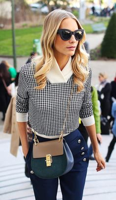 Poppy Delevingne in a gingham top, blue trousers and a Chloé crossbody