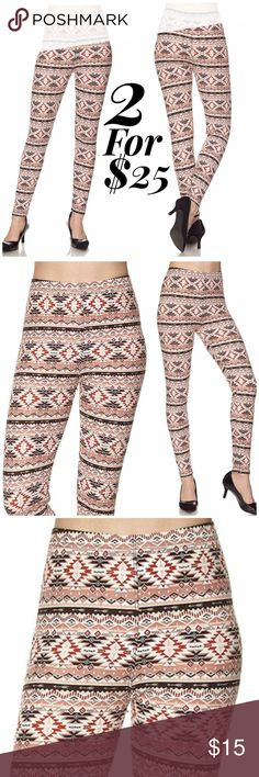 Aztec Print Brushed Leggings Get cozy with this cute and super soft brushed legging, featured in a Aztec print. With its smooth, comfortable fit. Wear these with a dressy top and a sexy pair of heels for a classy going out look, or an oversized off-the-shoulder top for a casual day ensemble. Paneled elastic waistband Approx. 27 in. inseam 92% polyester, 8% spandex. ONE SIZE FITS MOST (up to XL) Lulupie Pants Leggings