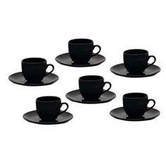 Conjunto de Xícaras para Chá Oxford Porcelanas Coup Black em Porcelana EM21-4924 - 6 Peças