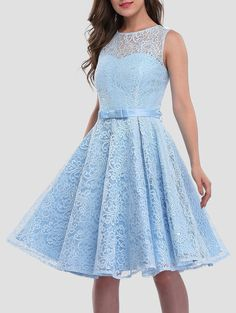 Lace Sleeveless Knee Length Cocktail Dress - ICE BLUE S