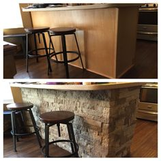 Before and after kitchen bar -Airstone - Decoration Organization Home Diy, Home Kitchens, Updating House, Kitchen Remodel, Mobile Home Renovations, House Design, Home Remodeling, Home Decor, Home Renovation