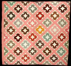 VINTAGE QUILT PATTERN: Hands All Around  1872.  beautiful colors with the pink and muted aqua, some yellow, red, brown.  love this one