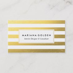 Yellow and Navy Blue Stripes Pattern Design Custom PU Leather office Business Card Holder Home