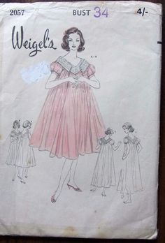 "Vintage Weigel's sewing pattern no. 2057 Pretty Nighty ensemble  size 34"" Bust #Simplicity"