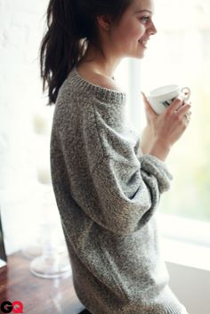 cozy sweater -- much better than sweats for around the house