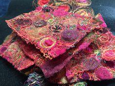 Gordana Brelih, work in progress Free Motion Embroidery, Free Machine Embroidery, Embroidery Applique, Beaded Embroidery, Embroidery Stitches, Textile Sculpture, Fabric Embellishment, Fabric Necklace, Thread Painting