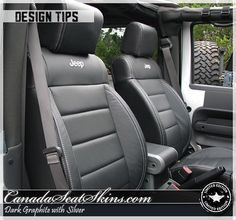 Jeep Wrangler Leather Package - Jeep Logos and Silver Stitching - canadaseatskins.com #leatherseats #jeep #wrangler #automotiveleather