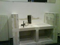 plan vasque lavabo intégré en béton cellulaire | Béton cellulaire ...