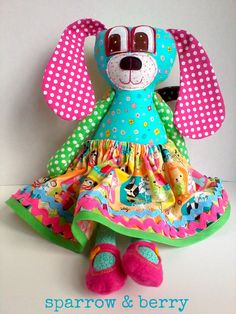 Dog doll -  Plush fabric puppy dog girl - Handmade stuffed children's toy,  jointed arm doll,  nursery decor