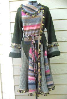 Sweatercoat Wool Handmade M L Upcycle Sweater Coat Woodland Gypsy Patchwork | eBay