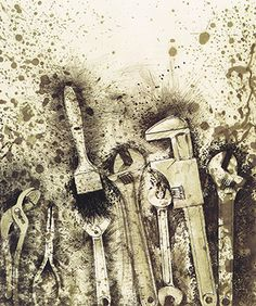 Jim Dine, tools, interesting splattering marks which make the image seem more lively and exciting Jim Dine, Pop Art, Memento, Gcse Art Sketchbook, Observational Drawing, Mechanical Art, Object Drawing, Still Life Drawing, A Level Art