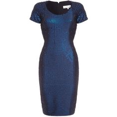 Damsel in a Dress Albury Dress (£44) ❤ liked on Polyvore featuring dresses, blue, clearance, shift dress, blue velvet dresses, collar dress, short sleeve sequin dress and blue bodycon dress