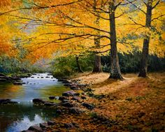 realism-paintings-of-natural-landscapes rnrnSource by tanquessepticos Forest Path, Tree Forest, Emerald Lake, Autumn Scenery, Spain And Portugal, Spain Travel, Amazing Nature, Beautiful Landscapes, Landscape Paintings