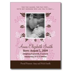 Baby Birth Announcement Pink with Cocoa Fern Post Cards