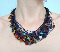 Necklace with amber, agate, lava, jade, 925 silver from Jewelry&Hand Made by DaWanda.com