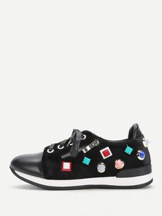 Shop Studded Decorated Lace Up Trainers online. SheIn offers Studded Decorated Lace Up Trainers & more to fit your fashionable needs.