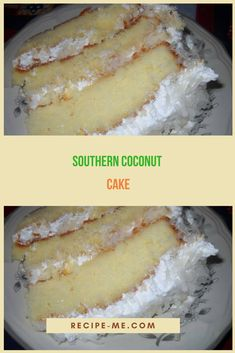 Makes an triple layer cake For the cake: 5 large egg whites ½ cup Coconut Desserts, Coconut Recipes, Just Desserts, Delicious Desserts, Yummy Food, Coconut Cakes, Yummy Snacks, Southern Coconut Cake Recipe, Cream Cheese Buttercream Frosting