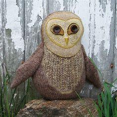 Embellished upcycled sweater owl.