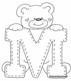 4 Modelos de Alfabeto Completo para Colorir e Imprimir - Online Cursos Gratuitos Teddy Bear Coloring Pages, Colouring Pages, Coloring Books, Felt Patterns, Applique Patterns, Coloring Letters, Alphabet Templates, Embroidery Alphabet, Patchwork Quilting