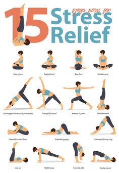 15 Yoga Poses for Stress To help with stress relief you can start with the bridge pose. Hatha Yoga Poses, Yoga Bewegungen, Sleep Yoga, Yoga Pilates, Easy Yoga Poses, Yoga Poses For Beginners, Yoga Sequences, Yoga Flow, Vinyasa Yoga