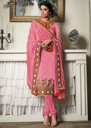 Casual Wear  Georgette Pink Embroidered Work Churidar Suit