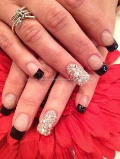 Black tips with Swarovski crystal nail art