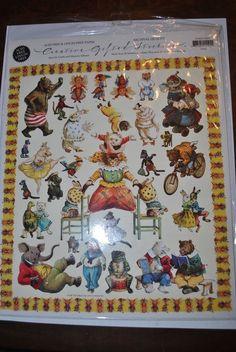 Vintage Creative Gifted Line Animal Antics Stickers Borders 1997 #GiftedLine