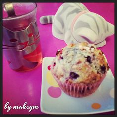 muffin rustique rhubarbe et myrtilles // rhubarb and blueberry muffin