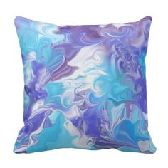 Shades of Blue Abstract Throw Pillow