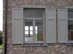 Are Plantation Shutters the Right Choice for Your Windows? Grey Window Frames, Grey Windows, Upvc Windows, Interior Windows, House Windows, Windows And Doors, Window Shutters Exterior, House Shutters, Shutter Colors