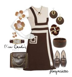 """""""1970s Pierre Cardin Mod Graphic Day Dress"""" by florymcintee ❤ liked on Polyvore featuring Pierre Cardin, David Webb and Hamilton"""