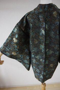 Kimono Dress Japan Vintage haori coat Geisha costume used silk KDJM-H0406