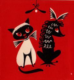 Vintage 1930s British Art Deco Cat and Poodle Christmas Misletoe Greetings Card (B5). $4.00, via Etsy.