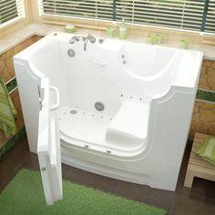 Therapeutic Tubs HandiTub x Whirlpool & Air Jetted Wheelchair Accessible Bathtub Drain Location: Left Walk In Tubs, Walk In Bathtub, Bathtub Drain, Whirlpool Bathtub, Jetted Bathtub, Best Bathtubs, Soaking Bathtubs, Roman Tub Faucets, Floor Patterns
