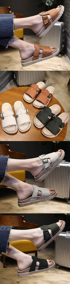 【US$23.89】Buckle Backless Leather Slip On Casual Sandals For Women #summershoes #summerslippers #backlessshoes #beachslippers