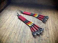 Vintage 3 long red bead earrings Native American