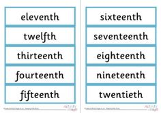 Ordinal Numbers Word Cards 11-20