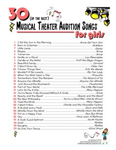 30 of the Best Musical Theatre Audition Songs for Girls http://www.thepreparedperformer.com/