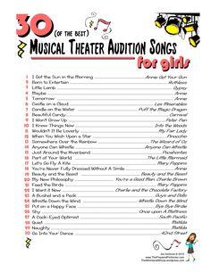 30 of the Best Musical Theatre Audition Songs for Girls http://www.thepreparedperformer.com/