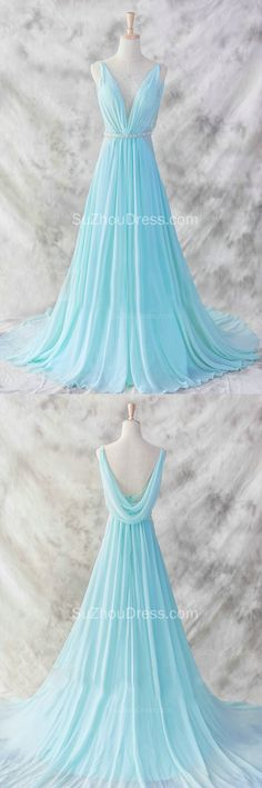 2015 Evening Dress Blue Sweep Train Sequins Cheap Prom Gowns