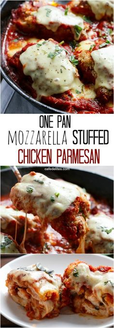 One Pan Mozzarella Stuffed Chicken Parmesan - This is like Chicken Parmigiana – inside out. Because it's stuffed with cheese and tomato Mozzarella Chicken, Stuffed Chicken Parmesan, Chicken Stuffed With Cheese, Stuffed Chicken Breasts, Stuffed Chicken Recipes, Italian Stuffed Chicken, Chicken Parmesean, Chicken Piccata, Chicken Parmigiana