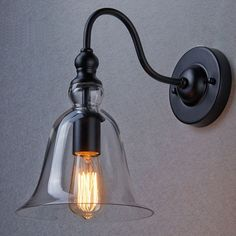 Vintage Metal Wall Mount Lighting Glass Bell Shade Ecopower Lamp Home Kitchen #CLAXY