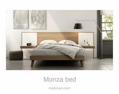 Click here to see Mobican's Monza bed with its lighted night tables | Cliquez ici pour voir le lit Monza de Mobican avec ses tables de nuit illuminées: http://mobican.com/monza/ #mobican #bed #madeincanada #nighttable #contemporary #furniture