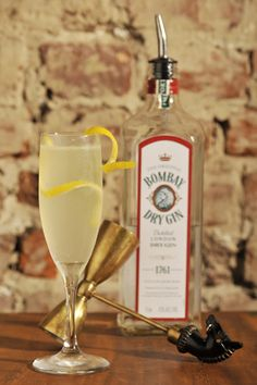 The French 75....(Gin, Champagne, lemon juice, sugar, and a lemon twist)... AKA my new favorite cocktail