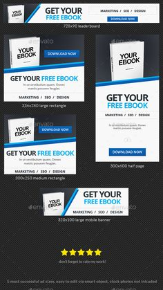 Blue Download Ebook Web Banner Template — Photoshop PSD #promotions #google adwords • Available here → https://graphicriver.net/item/blue-download-ebook-web-banner-template/17071519?ref=pxcr