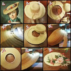 """Okay, so here's how you can turn a modern straw hat into an 18th century Bergère: 1. Plenty of inspiration to find, this is """"Portrait de femme aux fleurs"""" by Marianne Loir (1715-1769). 2. This is a cheap straw hat from H&M or Zara or something, the kind that is made from a stitched straw band or tape. 3. Remove the stitch to separate crown and brim, c. 5 cm below the top of the crown, so kind of in the middle of the crown. 4. We want to make the hole in the middle of the brim smaller, so ..."""